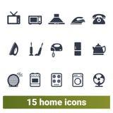 Elettrodomestici e raccolta delle icone della famiglia illustrazione vettoriale