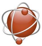 Elettrone rosso di colore rosso del nucleo dell'atomo 3D illustrazione di stock