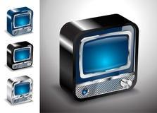 Elettronica della televisione del bottone dell'icona della TV Fotografie Stock Libere da Diritti