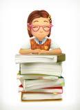 Elev- och skolaläroböcker stock illustrationer