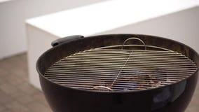 Elevação de queimadura do fogo em um fogão Assado exterior que cozinha em um piquenique no verão Abra a grade video estoque