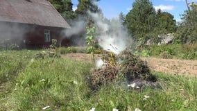 A elevação do fumo da fogueira das folhas caídas, a grama e o outro jardim recusam durante o período da limpeza 4K filme