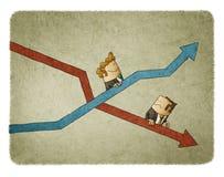 Elevação e queda de indicadores do negócio ilustração royalty free