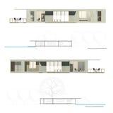 Elevação e seção da arquitetura Ilustração Stock