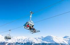 Elevación de esquí Estación de esquí Livigno Imágenes de archivo libres de regalías