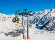 Elevación de esquí Estación de esquí Livigno Fotografía de archivo