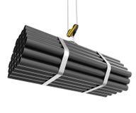 Elevación del gancho de la grúa de las tuberías de acero aisladas Imagen de archivo