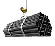 Elevación del gancho de la grúa de tuberías de acero Imágenes de archivo libres de regalías