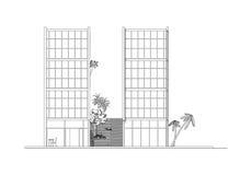 Elevación lateral del edificio moderno libre illustration