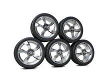 Elevado desempenho, pneumáticos do perfil baixo Foto de Stock Royalty Free