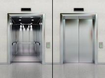 Elevador abierto y cerrado Imagenes de archivo