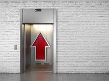 Elevador com portas abertas e a seta ascendente ilustração stock