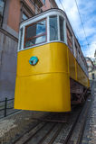 Elevador da格洛里亚,著名缆索铁路在里斯本,葡萄牙 免版税库存图片