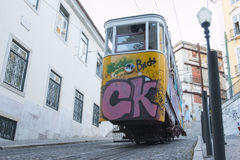 Elevador da Gloria, Lisbona Immagine Stock Libera da Diritti