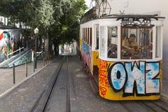 Elevador da Gloria, Lisbona Fotografia Stock Libera da Diritti