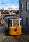 Elevador da Gloria vintage funicular railway with graffiti. Stock Photography