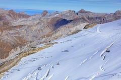 Elevador de cadeira do inseto do gelo no Mt Titlis Foto de Stock Royalty Free