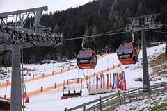 Elevador de esqui da cabine, Gastein mau, Áustria Imagem de Stock