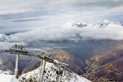Elevador de esqui em Sochi Krasnaya Polyana Fotos de Stock