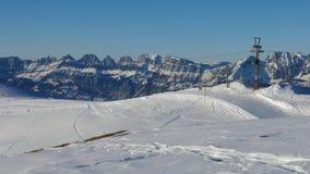 Elevador de esqui na área do esqui de Pizol Imagens de Stock