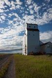 Elevador de grano de madera blanco debajo del cielo azul magnífico imagen de archivo libre de regalías
