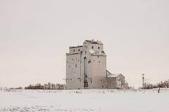 Elevador de grano de madera viejo solo en invierno fotografía de archivo libre de regalías