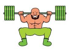 Elevador de peso que faz desenhos animados pesados da ocupa do Barbell Imagens de Stock Royalty Free