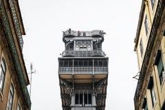 Elevador de Santa Justa in Lisbon. Elevador de Sant Justa Santa Justa Lift as seen from a narrow street in Baixa, Lisbon Stock Images