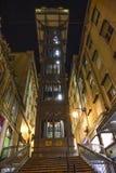 Elevador de santa justa in Lisbona illuminated at night. Elevador de santa justa in Lisbon Portugal. Steel tower with an elevator inside Royalty Free Stock Photography