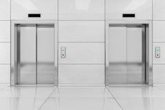 Elevador dos o elevación moderno con las puertas del metal en el edificio de oficinas Imagenes de archivo