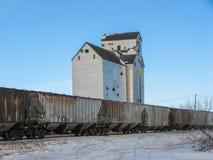 Elevador e anexo de grão com o trem no inverno Fotos de Stock Royalty Free