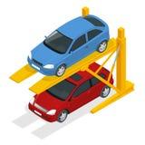 Elevadores hidráulicos isométricos para o carro no estacionamento subterrâneo Foto de Stock Royalty Free