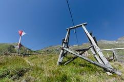 Elevadores na madeira para o transporte do alimento Foto de Stock