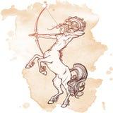 Elevando o centauro que guarda a curva e a seta Esboço do estilo do vintage Fotos de Stock Royalty Free