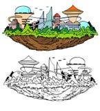 Elevar y mantener flotando la ciudad futura Imagenes de archivo