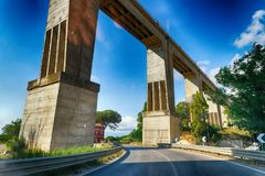 Elevated Bridge overpass from countryside road.  Stock Photo