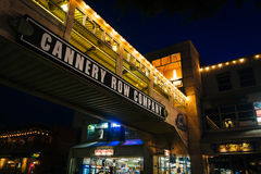 Elevated bridge and shops in Cannery Row at night, in Monterey  Royalty Free Stock Image