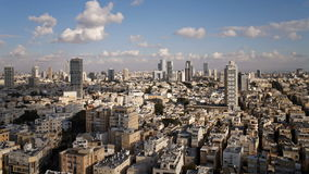 Elevated city view towards the commercial and business center tel aviv stock footage