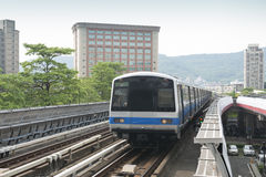 Elevated Commuter Train stock images