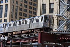 Elevated commuter train in Chicago. The El. Overhead commuter train in Chicago Royalty Free Stock Photography