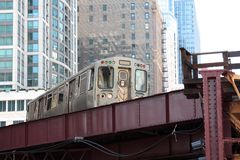 Elevated commuter train in the city Royalty Free Stock Images