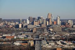 Elevated Daytime View of the Cincinnati, Ohio, USA Skyline on a Winter Day stock images