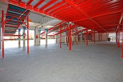 Elevated Distribution Warehouse. Elevated Conveyors for Shipping and Delivery in Distribution Warehouse royalty free stock photo