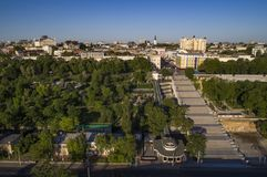 Elevated drone image of the Potemkin Stairs Odessa. Elevated drone image of the Potemkin Stairs and Prymorski Boulevard with Istanbul Pakr and the Odessa Skyline royalty free stock image