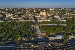 Elevated drone image of the Potemkin Stairs  Odessa Royalty Free Stock Photography