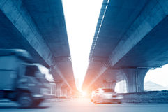 Elevated express way. At evening time stock images