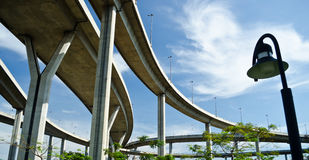 Elevated express way over the park. Rush and peace in one picture Stock Photo