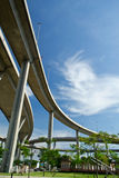 Elevated express way over the park. Rush and peace in one picture Stock Photography