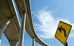Elevated express way with traffic sign Stock Images