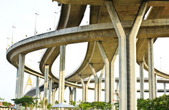 Elevated expressway. The curve of suspension bridge Royalty Free Stock Photo